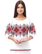White Acrylic 3/4 Sleeve Sweater