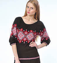 Black Embroidery Design Sweater Knit Top ~ Sizes S-L
