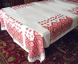 Red Hutsul Tablecloth