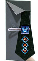 Blue Embroidered Tie Clip
