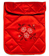 Notebook Flap Pouch - Red: Black & White Floral Design