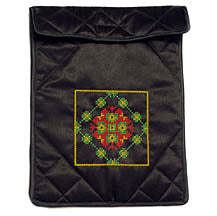 Notebook Flap Pouch - Black Multicolor Embroidery Design
