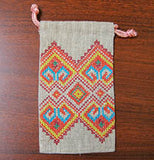 Embroidered Linen Pouch 3.25 x 5.25 in.
