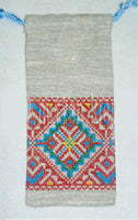 Embroidered Linen Pouch 3.5 x 6.5 in.