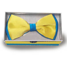 Blue-Yellow Satin Bow Tie