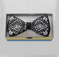 Black/White Embroidered Bow Tie