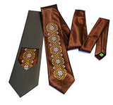 Brown Embroidered Tie