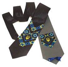 Black Satin Tie with Tryzub Embroidery