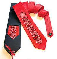 Red Tie with Black/White Embroidery