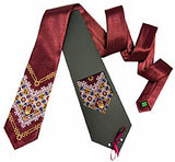 Burgundy Embroidered Tryzub Tie