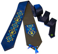 Blue Embroidered Tryzub Tie