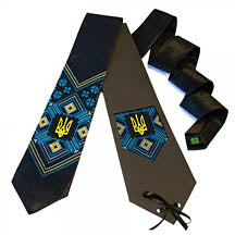 Black Satin Tryzub Tie - blue, gold design