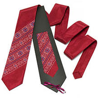 Burgundy Embroidered Satin Tie