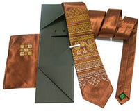 Brown/Gold Tie Set with Clip and Ascot