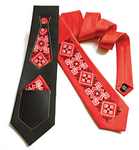 Red Satin Embroidered Tie Set with Ascot