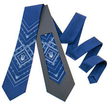 Navy Tie with Tryzub Design