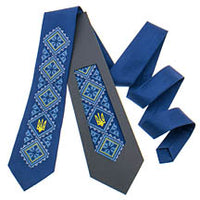 Tryzub Embroidered Tie in Navy