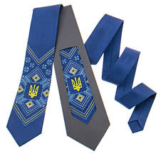 Navy Satin Tie with Tryzub
