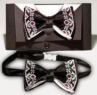 Bow Tie - Black with White & Red Embroidery