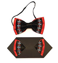 Boys Bow Tie - Black , Red and White embr.