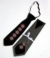 Black satin tie with red/White Embroidery