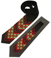 Black Linen Tie with red/green/gold embroidery