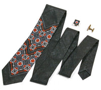 Black & Red Embr Linen Tie