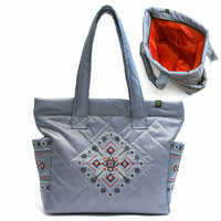 Grey Quilted Purse with Red Embroidery