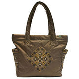 Bronze Quilted Embr Purse with Gold
