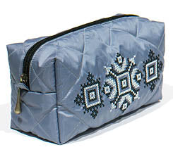 Cross Stitch Embroidered Quilted Cosmetic Case