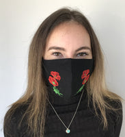 Black with Poppies - face mask