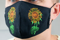 Black with Sunflowers - face mask