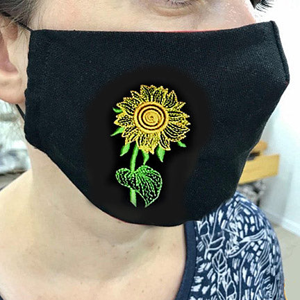 Ukrainian face masks, sunflower, black