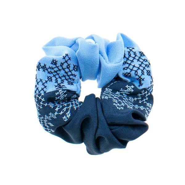 Dark Blue - Light Blue Scrunchie