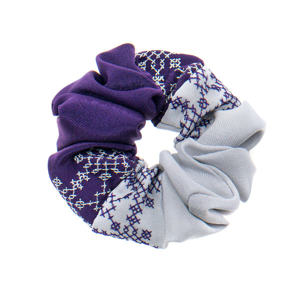 Purple - Silver Scrunchie