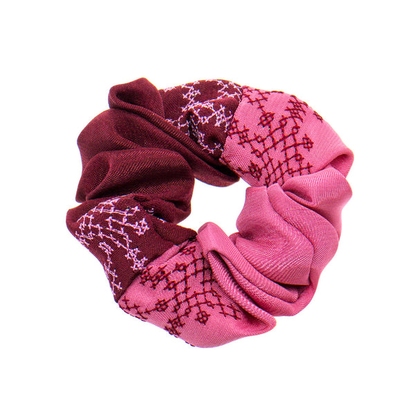 Burgundy - Pink Scrunchie