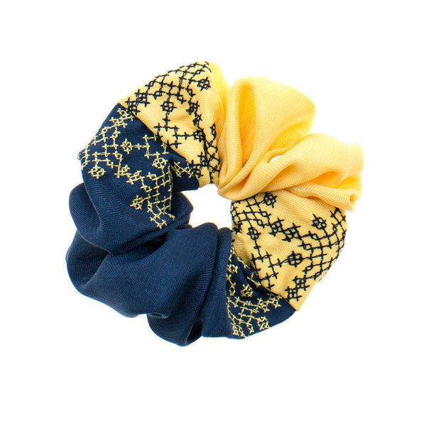 Navy - Cream Scrunchie