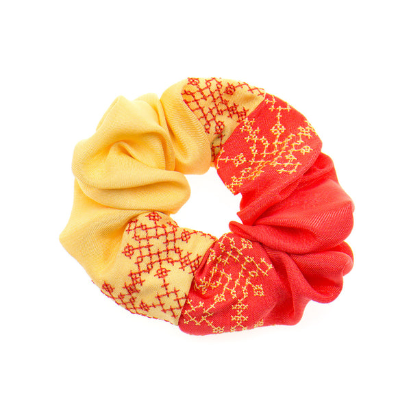 Coral - Cream Scrunchie