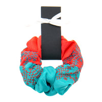 Coral - Turquoise Scrunchie