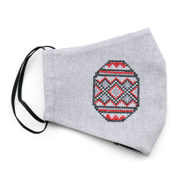Grey with Red Pysanka design - face mask