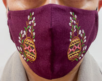 Burgundy Pysanka & Pussy Willow - face mask