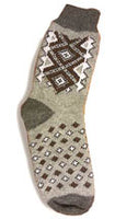 Brown on Grey Mens Wool Socks