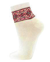 Ladies Red/Black Snowflake Embroidery Socks on Cream