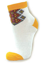 Ladies White and Gold Socks