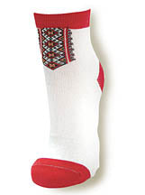 Ladies Beige and Red Socks