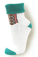 Ladies White and Green Plush Socks