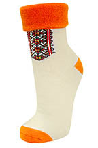 Ladies Beige Socks (plush, orange)