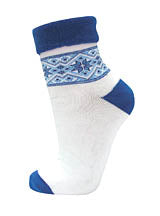Ladies Plush White with Blue Snowflake Socks