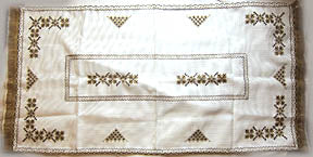 Hand Embroidered Servetka 14x26 in. brown
