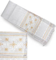 White rushnyk with white / gold embroidery